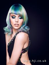 2016 glossy shoulder length hairstyle with ocean colours and asymmetric fringe - HJI
