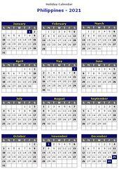 Philippines 2021 Printable Holiday Calendar Monthly Calendar Printable Free Printable Calendar Templates Calendar