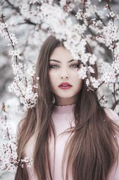 Model pose idea – Part your lips slightly like this model for effect. Blossom by… – Frisure