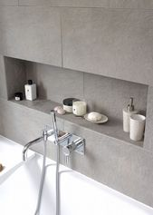 Photo of Niche in the bathroom with tiles gray. #Tiles #Bathroom