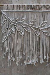 Rideau en macramé, toile de fond de mariage Boho, rideau en entrée, grande tenture murale, décor mural feuilles