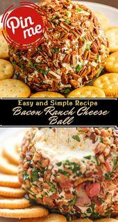 Bacon Ranch Cheese Ball #Healthyfood #Dietketo #Breakfast #Food