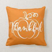 Cute Fall Halloween Pumpkin Thankful Throw Pillow | Zazzle.com
