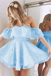 Short A Line Sweetheart Ruffles Shoulder Homecoming Dresses 2018 Cute Lace Prom Dresses – dresses