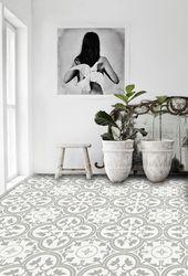 Vinyl Floor Tile Stickers – Floor Stickers – Carreaux Ciment Encaustic Trefle 2 Tile Stickers Pack in Thistle