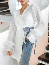 Style V Neck Unfastened Lengthy Sleeve Chiffon Shirt