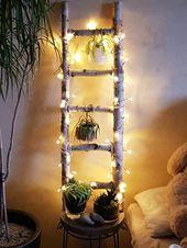 Leiter * Lichterkette * Pflanzen * DIY – #diy #lei…