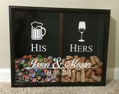Mr and Mrs Wine Cinder and Beer Cap Holder, His and Hers, Wedding Gift Idea, Personalized