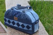Denim bag in the patchwork style for travel and by MerryCraftsByRA