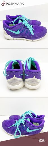Nike Free Hyper Grape Turquoise Running Shoes OOPS: has a pink spot on left toe …