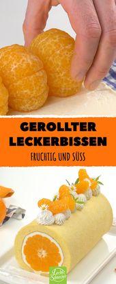 Tratar enrollado. Afrutado y dulce! Rollo de mandarina con crema de yogur …   – Desserts – Nachtisch – Nachspeise