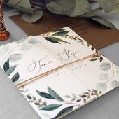 Cyprus – Wedding Invitations & Save the Date. Eucalyptus luxury folding wedding invites, Rustic green cyrillic wedding invitations