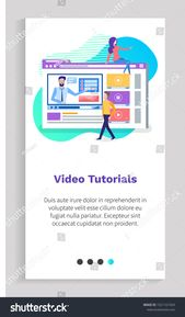 Video Tutorials Man Woman Characters Studying Stock Vector (Royalty Free) 1521161924