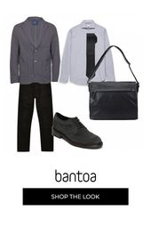 Photo of Black leather briefcase with pockets Blazer gray single-breasted light gray shirt crava …