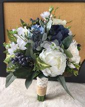 Wedding Bouquet, Greenery Bridal Bouquet, Succulent Bouquet, Boho Bouquet, Navy Blue Wedding …
