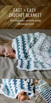 Baby Blanket Here is a fast and easy crochet baby blanket pattern available in the image belo...