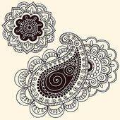 Henna Mehndi Floral Doodle y Paisley Vector Art- ヘ ナ Mehndi 花 の 落 書 き …  – Graffiti Tattoo