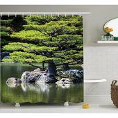 Weltmenagerie Glenn Pine Tree Lake Mit Steinen Japanische Naturlandschaft Mit Asien-Gartenthema Einzelner Duschvorhang   – Nature