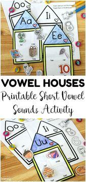 Vokalhäuser! Kurzer Vokal klingt Aktivität für Kinder – Literacy activities kindergarten