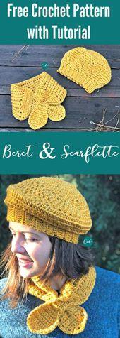 Häkeln Sie Baskenmütze und Scarflette Set kostenlose Muster   – shawls