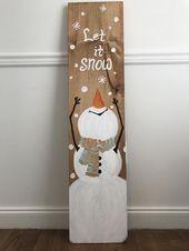 Lassen Sie es Schnee Schneemann und Willkommen doppelseitige Veranda Zeichen