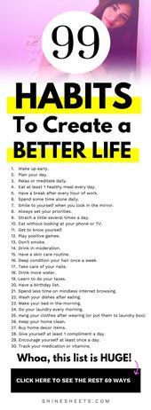 99 Gewohnheiten für ein besseres Leben + KOSTENLOSE Checkliste zum Ausdrucken