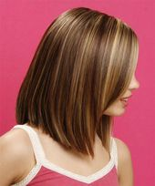 Long Straight Formal Hairstyle - Chestnut Brunette Hair Color with Light Blonde Highlights,  ...