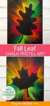Kids will love this autumn leaf chalk pastel art with all those
