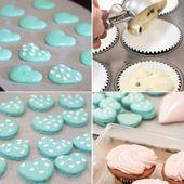 Heart Polka Dot Macarons & Vanilla Bean Blueberry Cupcakes by raspberri cupcakes…