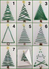 Carte de vœux, carte perlée, carte à la main, arbre avec des ornements, arbre de Noël, carte en scrap fil, à la main cousu