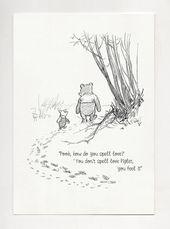 Pooh, wie buchst du Liebe? -Winnie the Pooh Quotes-klassischer Vintage-Plakatdruck #33 – InguPin