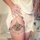 Lotus Thigh Tattoo Placement Ideas at MyBodiArt.com  Celyon Black Lace Chandeli … – Tattoo Platzierung