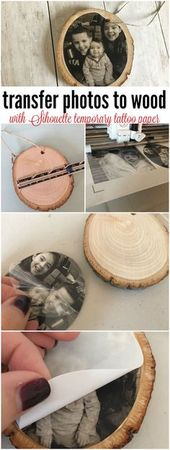 Transferring Photos to Wood with Silhouette Temporary Tattoo Paper   – Christmas diy