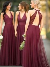 Beautiful V-neck Open Back Sleeveless Long Bridesmaid Dress , SW1004