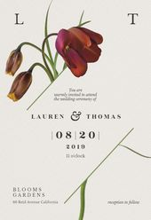 Invitations  Tulips in bloom invitation template. Customize, add text and photos. Print, down...