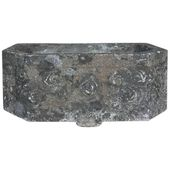 French Art Deco Carved Stone Jardinière, Fountain Basin