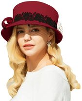 F fadves wide brim wool felt hat women lace veil formal occasions hats – Products