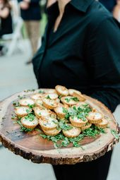 Wedding cocktail hour reception quiche server finger food easy rustic log tray w…