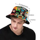 Bucket hat packable reversible russian dolls print sun hat fisherman hat cap outdoor camping fishing safari men women black – Products
