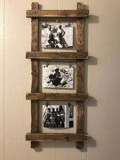This listing is for a ladder photo display!  This rustic ladder photo holder is …