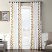 EFF Trophy Embroidered Faux Silk Taffeta Window Curtain, White, 50X120