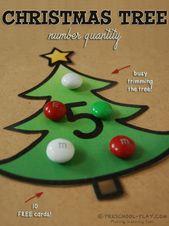 Weihnachtsbaum Nummer Menge Aktivität   – Math