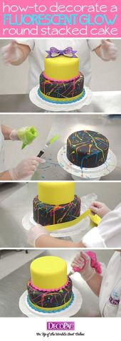 Learn how to make this trendy neon splattered cake with ready-to-place Gum Paste… – Decoracion