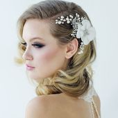 Freshwater Pearl and Fabric Flower Wedding Headpiece