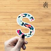 "Letter ""S"" Tropical Vinyl Sticker, Best Friend Gift, Laptop Decals, Name Stickers, Monogram, Macbook"
