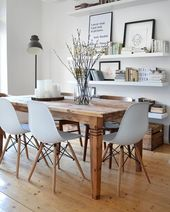 A beautiful large wooden table, unique design chairs and simple… – wooden table DIY