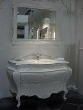 white baroque sink vanity, ornate carved mirror, bathroom  #white #chic #elegant…   – Shabby chic
