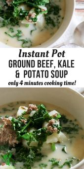 Pressure Cooker Ground Beef and Kale Soup
