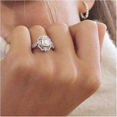 Halo Diamond Vintage Engagement Ring in White Gold   – Inspiration