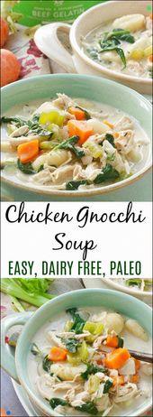 Einfache Eintopf-Hühnchen-Gnocchi-Suppe ist schnell und Paleo Eine gesunde Version einer Pause …